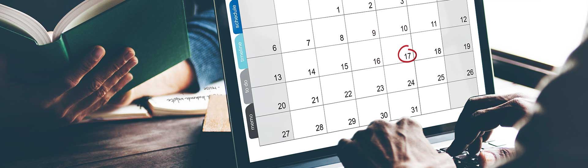 Bildschirm mit geöffnetem Kalender, die 17 ist umkreist